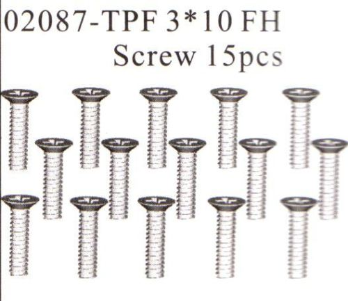 02087 3x10mm FH Screw Self Taping x15 HSP Himoto