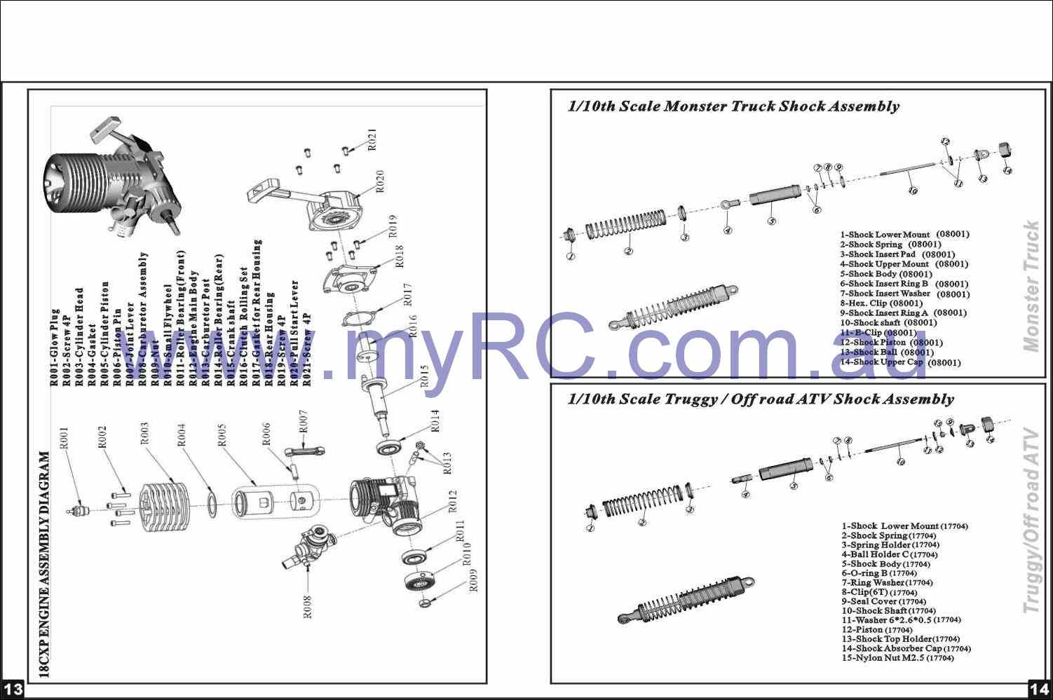 HIMOTO-HSP-Nitro-Monster-Truck-Parts-List
