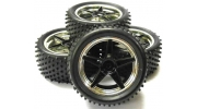 Black and silver spoke buggy wheels 1/10