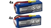 4x 4000mah and 4x 5000mah 22.2v LiPo batteries